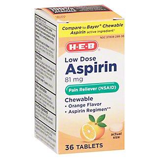 H-E-B Children's Aspirin Orange Chewable Tablets, 36 ct