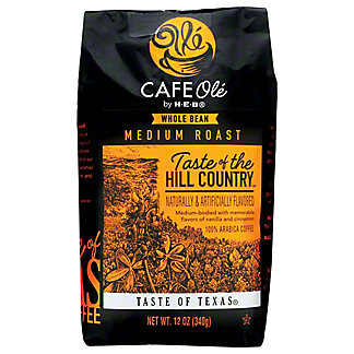 Cafe Ole by H-E-B Taste of The Hill Country Medium Roast Whole Bean Coffee, 12 oz