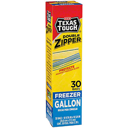 H-E-B Texas Tough Double Zipper Gallon Freezer Bags,30 CT