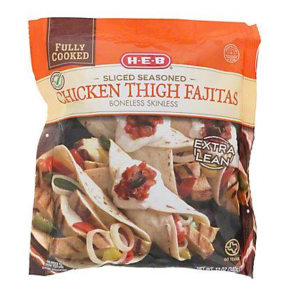 H-E-B Fully Cooked Sliced Seasoned Chicken Thigh Fajitas,12 OZ