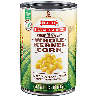 H-E-B Select Ingredients No Salt Added Crisp N' Sweet Whole Kernel Corn, 15.25 oz