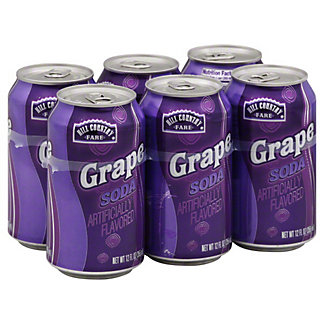 Hill Country Fare Grape Soda 12 oz Cans, 6 pk