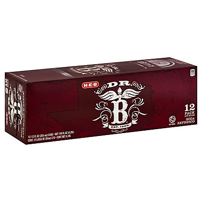 H-E-B Dr. B Soda 12 oz Cans, 12 pk