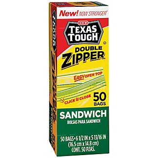 H-E-B Texas Tough Double Zipper Sandwich Bags, 50 ea