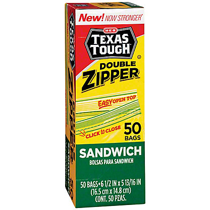 H-E-B Texas Tough Double Zipper Sandwich Bags, 50 ea