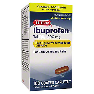 H-E-B Ibuprofen 200 Mg Coated Caplets, 100 ct