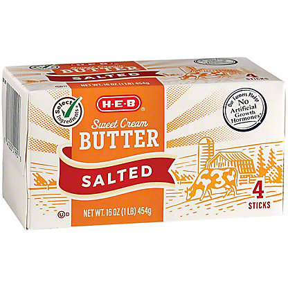 H-E-B Select Ingredients Sweet Cream Salted Butter, 4 ct