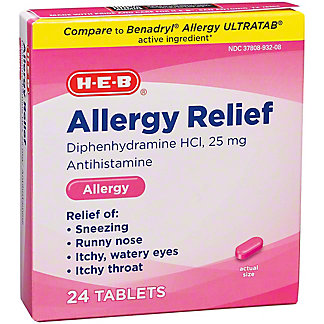 H-E-B Antihistamine Allergy Diphenhydramine HCI 25 mg Tablets,24 CT
