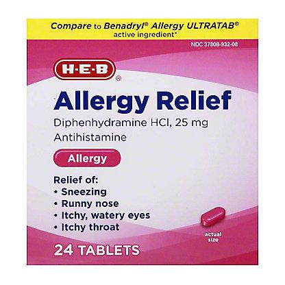 H-E-B Antihistamine Allergy Diphenhydramine HCI 25 mg Tablets,24 CT