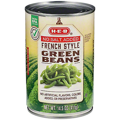 H-E-B French Style No Salt Added Green Beans, 14.5 oz