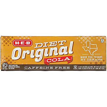 H-E-B Diet Caffeine Free Original Cola 12 oz Cans, 12 pk