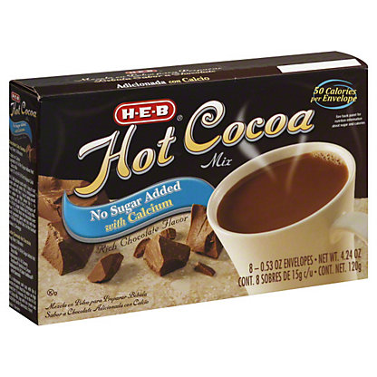 H-E-B Hot Cocoa Mix No Sugar Added with Calcium,8 CT