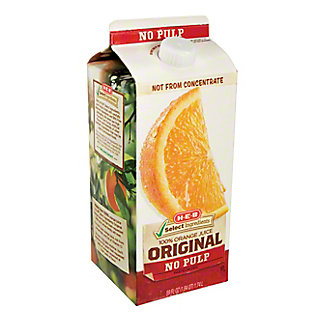 H-E-B Select Ingredients Original No Pulp Orange Juice, 59 oz