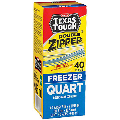 H-E-B Texas Tough Double Zipper Quart Freezer Bags, 40 ct