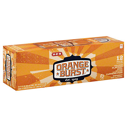 H-E-B Orange Burst Soda, 12 - 12oz Cans