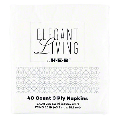 H-E-B White Dinner Napkins,40 CT