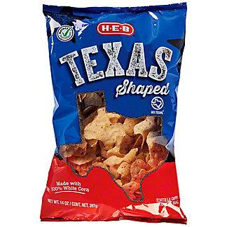 H-E-B Select Ingredients Texas Shaped White Corn Tortilla Chips, 14 oz