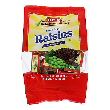 H-E-B Select Ingredients California Sweet Raisins Mini Boxes,14 CT