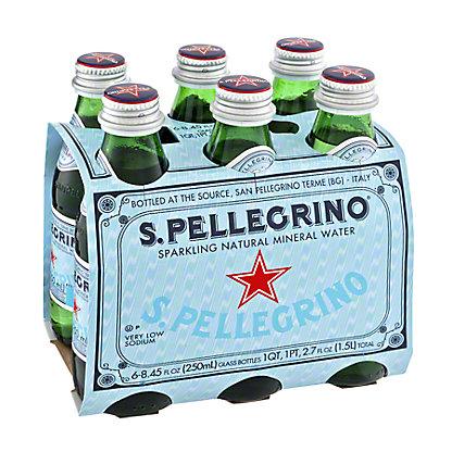 San Pellegrino Sparkling Natural Mineral Water, 6 - 8.45oz Bottles