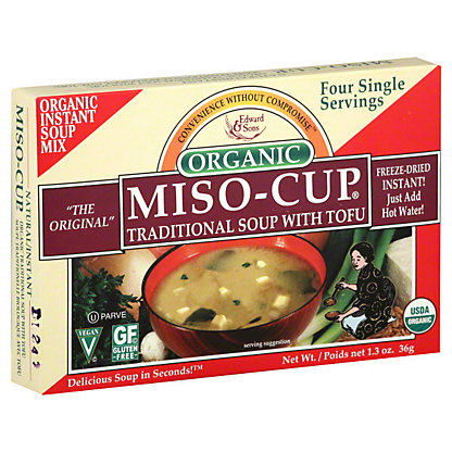 Edward & Sons Organic Miso-Cup Miso Soup Cup with Tofu, 1.3OZ.
