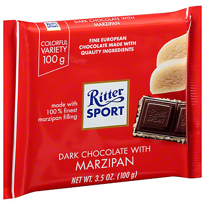 Ritter Sport Dark Chocolate With Marzipan, 3.5 oz