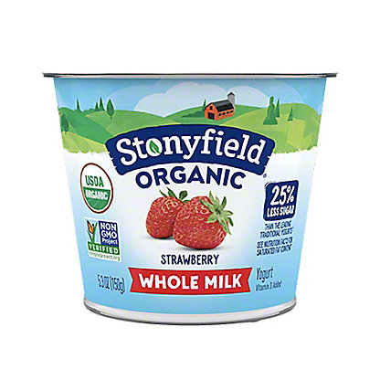 Stonyfield Farm Organic Yogurt, Organic, Fat Free, Fruit on the Bottom, Strawberry,6.00 oz