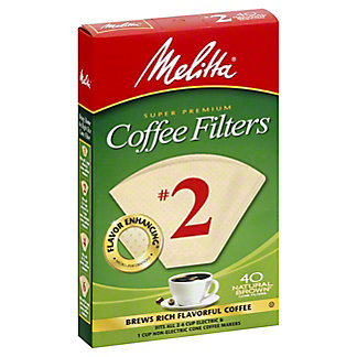 Melitta Natural Brown No. 2 Cone Coffee Filters,40 CT