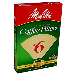 Melitta Cone No. 6 Natural Brown Coffee Filters,40 CT