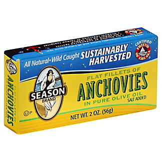 Season Flat Fillets Anchovies in Pure Olive Oil,2 OZ