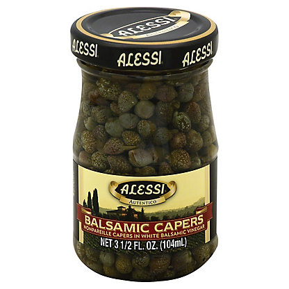 Alessi Balsamic Capers Nonpareille Capers in White Balsamic Vinegar,3.5 OZ