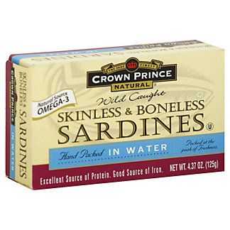 Crown Prince Skinless & Boneless Sardines in Water,3.7 OZ