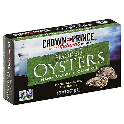 Crown Prince Natural Smoked Oysters in Olive Oil,3 OZ