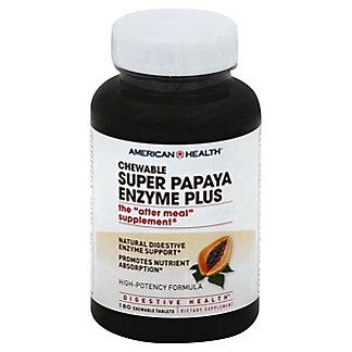 American Health Super Papaya Enzyme Plus Chewable Tablets, 180 ct