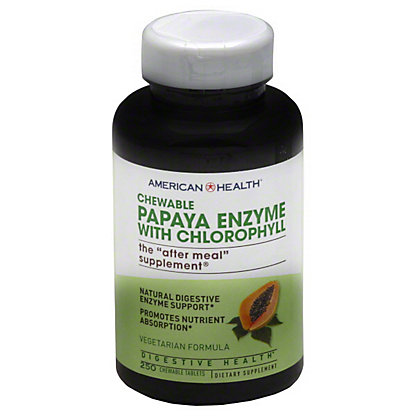 American Health Papaya Enzyme With Chlorophyll Vegetarian Formula Chewable Tablets, 250 ct