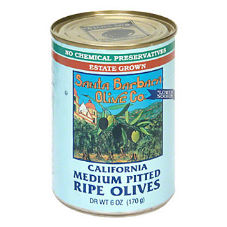 Santa Barbara California Medium Pitted Ripe Black Olives,6 OZ