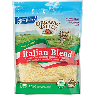 Organic Valley Finely Shredded Italian Blend Cheese, 6 oz