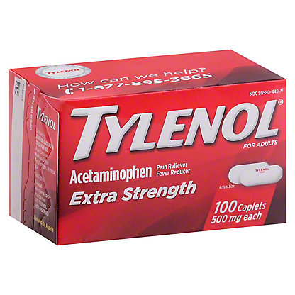 Tylenol Extra Strength 500 mg Caplets, 100 ct