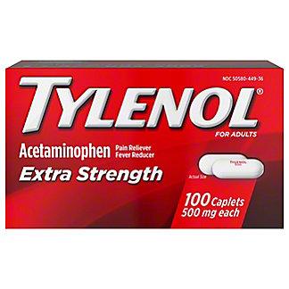 Tylenol Extra Strength 500 mg Caplets, 100 ct