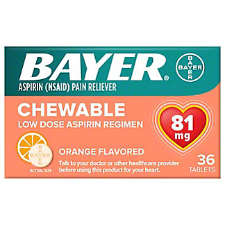Bayer Aspirin Pain Reliever/Fever Reducer Low Dose 81 mg Orange Flavored Chewable Tablets,36 CT