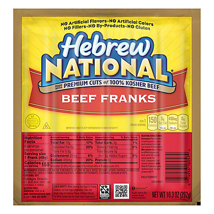 Hebrew National Kosher Beef Franks,7 CT