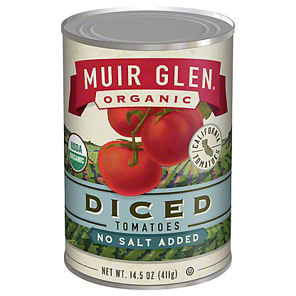 Muir Glen Organic Diced Tomatoes No Salt Added,14.5 oz