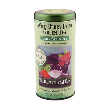 The Republic of Tea Wild Berry Plum Green Tea Bags,50 CT