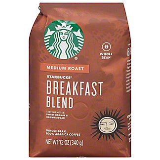 Starbucks Breakfast Blend Medium Roast Whole Bean Coffee, 12 oz