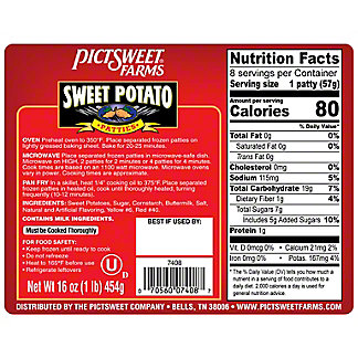 Bright Harvest Sweet Potatoes Bright Harvest Sweet Potatoes Patties 8 ct.,16.00 oz