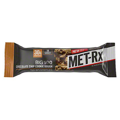 MET-Rx Big 100 Chocolate Chip Cookie Dough Meal Replacement Bar, 3.52 oz