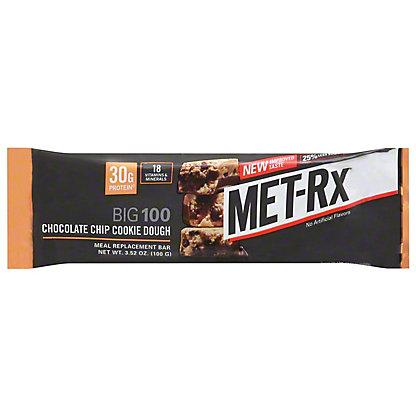 MET-Rx Big 100 Chocolate Chip Cookie Dough Meal Replacement Bar, 3.52 oz