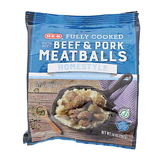 H-E-B Fully Cooked Homestyle Meatballs,14 OZ