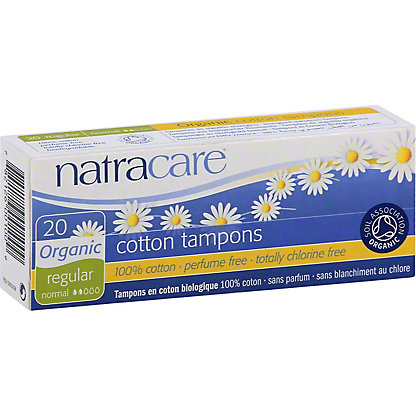 Natracare Organic All Cotton Tampons- Regular,20 CT
