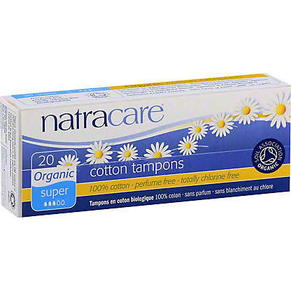 Natracare Organic All Cotton Tampons- Super,20 CT