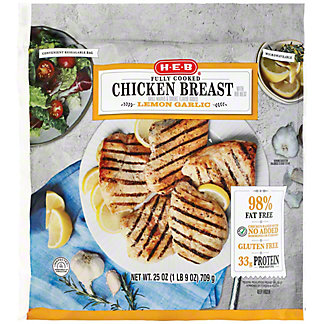 H-E-B Fully Cooked Lemon Garlic Grilled Chicken, 25 oz